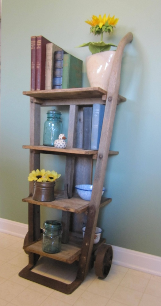Book Shelf Repurposed From An Antique Furniture Dolly