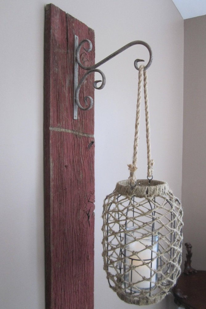 Reclaimed Barn Wood Wall Hanging with Lantern