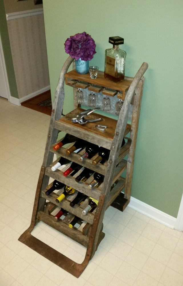 - 25% Off – Wine Rack Created From Antique Furniture Dolly