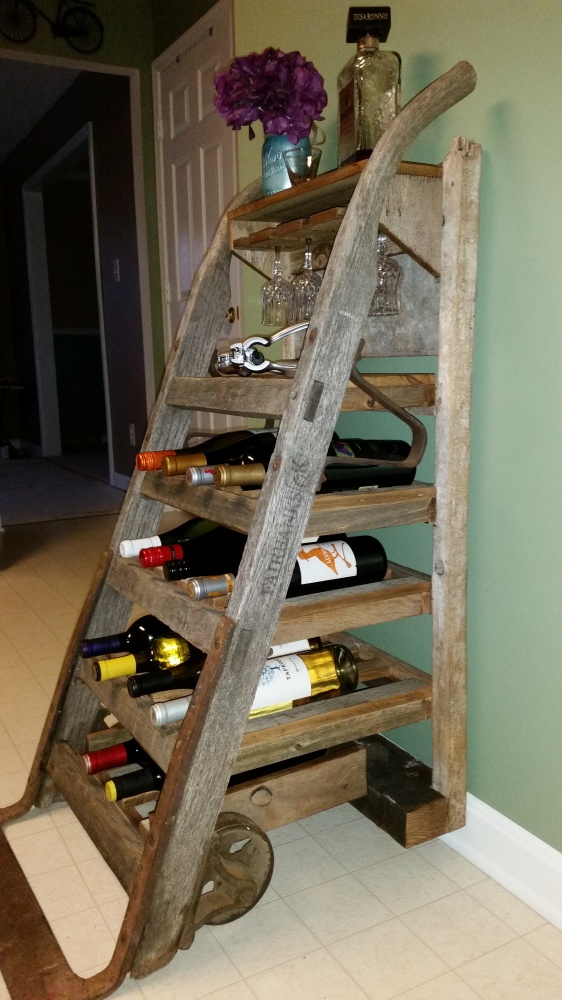25 Off Wine Rack Created From Antique Furniture Dolly